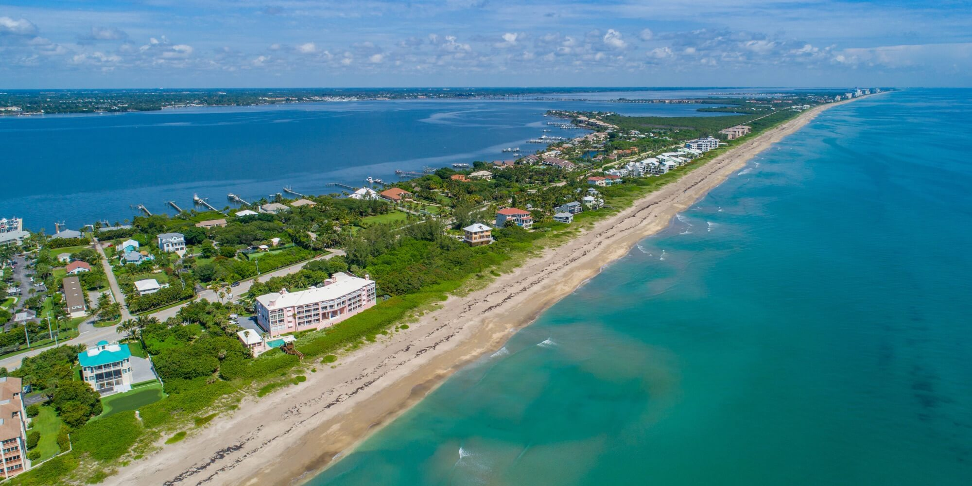 aerial view of beachfront porperties in Stuart FL